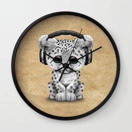 Cute Snow leopard Cub Dj Wearing Headphones Wall Clock