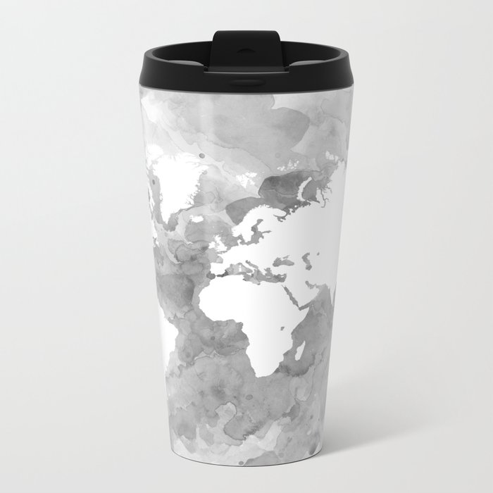 Design 49 grayscale world map metal travel mug by artbylucie society6 design 49 grayscale world map metal travel mug gumiabroncs Image collections