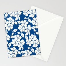 Hibiscus Floral: Marine Blue Stationery Cards