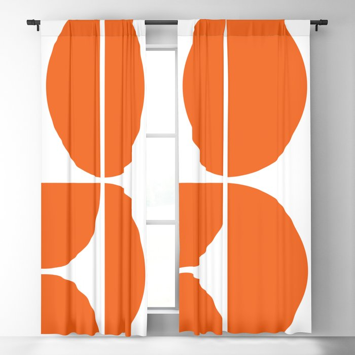 Mid Century Modern Orange Square Blackout Curtain