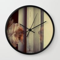 yorkie Wall Clocks featuring Yorkie Daydreaming by Jonora Fabrics