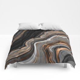 Elegant black marble with gold and copper veins Comforters