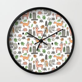Woodland foxes rabbits deer owls forest animals cute pattern by andrea lauren Wall Clock