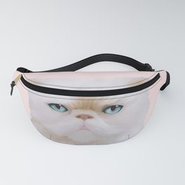 Cute Angry Fluffy Pink White Kitty Cat Portrait Fanny Pack
