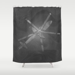 Texture Gray (Grey) Helicopter Modern Print Shower Curtain