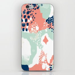 Kayl - abstract painting minimal coral mint navy color palette boho hipster decor nursery iPhone Skin