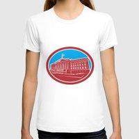 washington dc T-shirts featuring The Treasury Building Washington DC Woodcut Retro by patrimonio