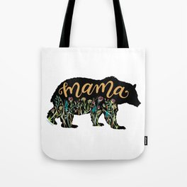 Mama Bear with Pretty Wildflowers Hand Lettering Illustration Tote Bag