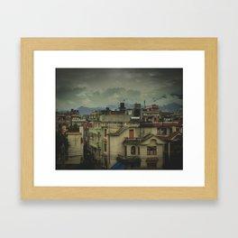 Kathmandu City Roof Tops - Architecture 03 Framed Art Print