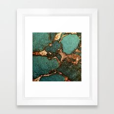 EMERALD AND GOLD Framed Art Print