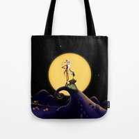 jack skellington Tote Bags featuring Christmas Nightmare Jack Skellington by Inara