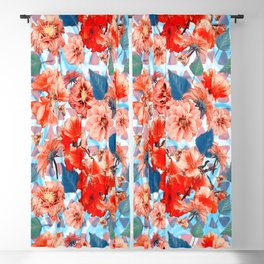 Geometric Flowers and Bees Blackout Curtain
