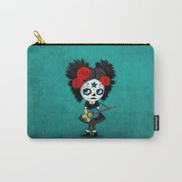 Day of the Dead Girl Playing Swedish Flag Guitar Carry-All Pouch