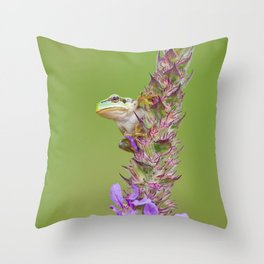 The little green frog Throw Pillow