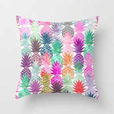 Bright exotic pineapples pastel watercolor pattern Throw Pillow