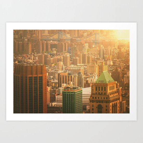 New York City Skyline Rooftops Art Print