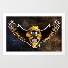 Happy Cycloptic Dog Eagle with a Stache (scratch back) Art Print