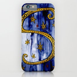 Letter S Initial Watercolor Gold Blue iPhone Case
