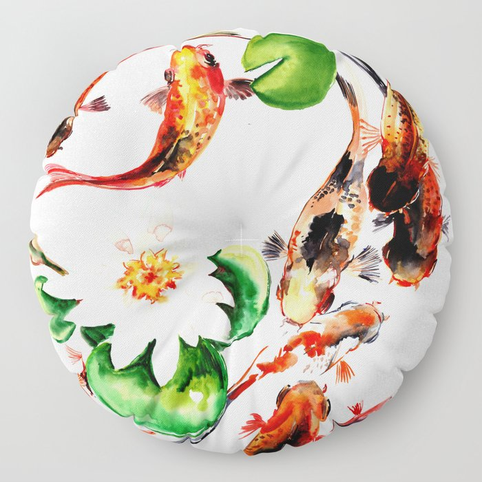 Koi Fish in Pond, Feng Shui Floor Pillow