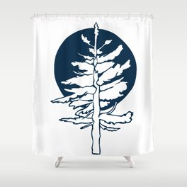 Evergreen Tree in the Moonlight Shower Curtain