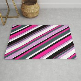 Eyecatching Deep Pink, Dark Slate Gray, Plum, White & Black Colored Lines Pattern Rug