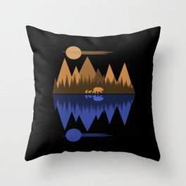 Bear & Cubs Black Throw Pillow