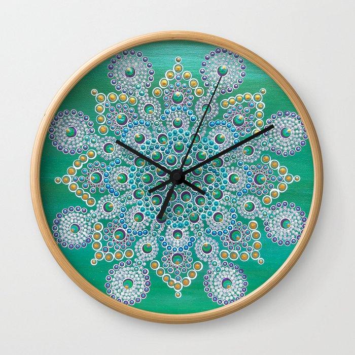 Persian Peacock Mandala Wall Clock