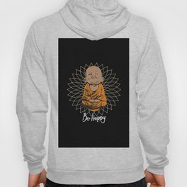 Be Happy Little Buddha Black Hoody
