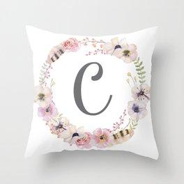 Floral Wreath - C Throw Pillow