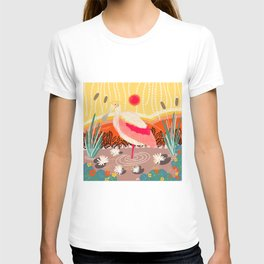 Roseate Spoonbill in the Sunset T-shirt