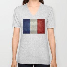 Flag of France, vintage retro style Unisex V-Neck