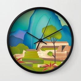 Machu Picchu, Peru - Skyline Illustration by Loose Petals Wall Clock