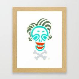 Skull_Happy Crazy Hair Lady Framed Art Print