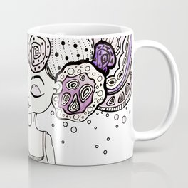 Cosmic girl with a planet in her hands universe creation illustration print art creepy cute pretty Coffee Mug