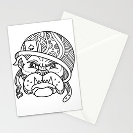 Soldier Bulldog Ace of Spade Mono Line Stationery Cards