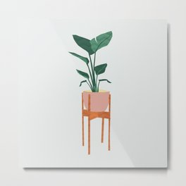 Boho mid century modern house plant and pot stand Metal Print