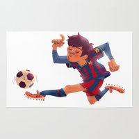 messi Area & Throw Rugs featuring Lionel Messi, Barcelona Jersey by Mike Laughead