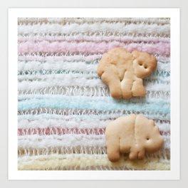 Animal Crackers - rainbow Art Print