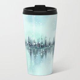 Abstract Winter Cityscape Skyline Travel Mug