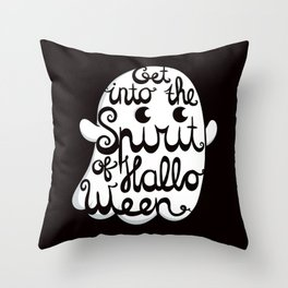 Cute Ghost - Get into the Spirit of Halloween Throw Pillow
