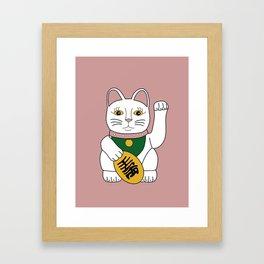 Maneki Neko - lucky cat - pink Framed Art Print