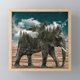 Surrealist elephant on a dry African landscape photo Framed Mini Art Print