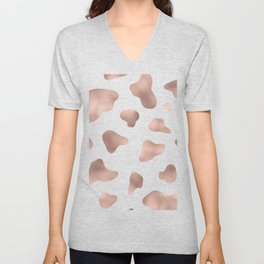 Rose gold cow print Unisex V-Neck