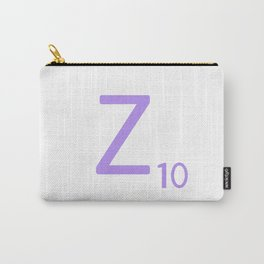Purple Z Monogram Art Scrabble Tile Carry-All Pouch