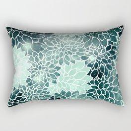 Space Dahlias Spearmint Green Rectangular Pillow