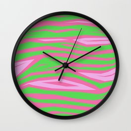 Punky Pink And Green Stripy Animal Print Wall Clock