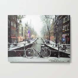 Red light district canal in the snow Metal Print