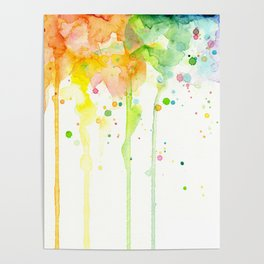 Watercolor Rainbow Splatters Abstract Texture Poster