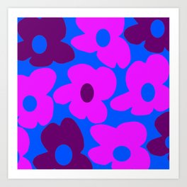 Large Pink and Purple Retro Flowers Blue Background #decor #society6 #buyart Art Print
