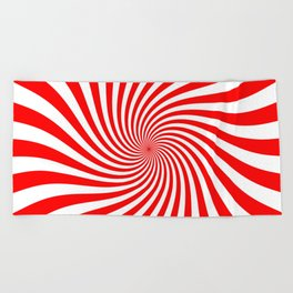 Swirl (Red/White) Beach Towel